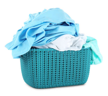 Dirty laundry in basket, isolated on white