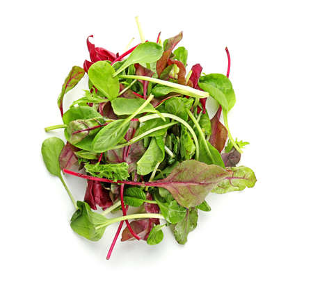 Mix of different salads on white background
