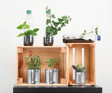 Cajas de madera con latas de aluminio y botellas de plástico utilizadas como contenedores para el cultivo de plantas, sobre fondo claro.