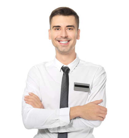 Attractive salesman in formal wear on white background Stock Photo