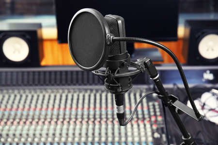 View of microphone in radio station Banque d'images