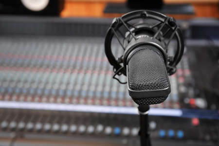 View of microphone in radio station Stock Photo
