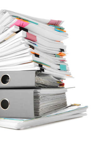 Stack of documents on white background Stockfoto