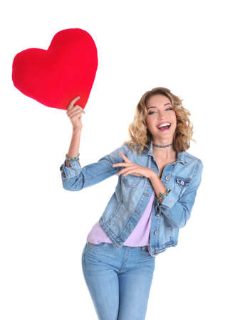 Attractive young woman with red heart on white background