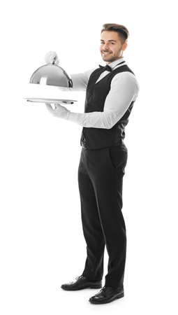 Waiter with metal tray and cloche on white background Stock Photo