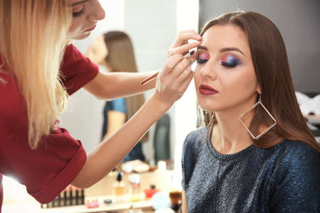 Professional makeup artist working with attractive young woman indoors Zdjęcie Seryjne