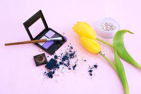 Composition with professional makeup artist cosmetics on color background