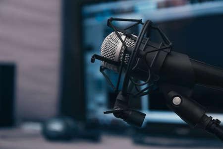 Microphone at radio station, closeup