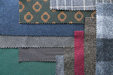 Fabric samples with different patterns as background
