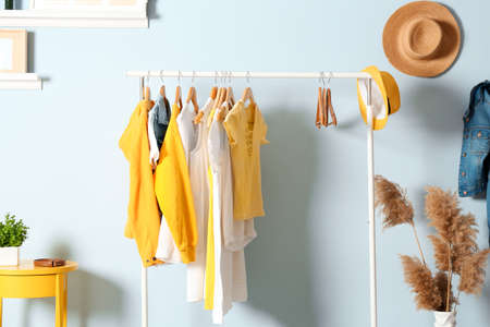 Collection of clothes hanging on rack in dressing room Archivio Fotografico