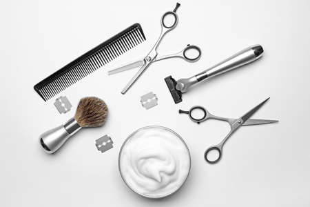 Professional hairdresser set for men on white background