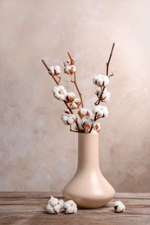 Cotton Flowers In Vase On Table Stock Photo Picture And Royalty