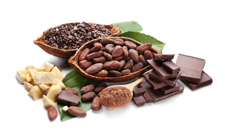 Samenstelling met gezonde cacaoproducten op witte achtergrond