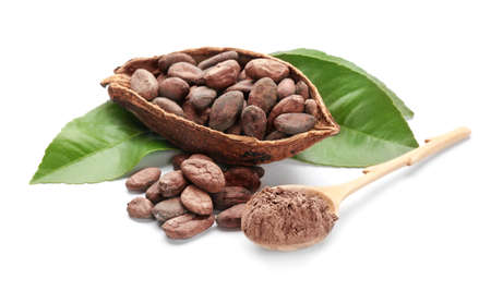 Half of ripe cocoa pod with beans and spoon with powder on white background