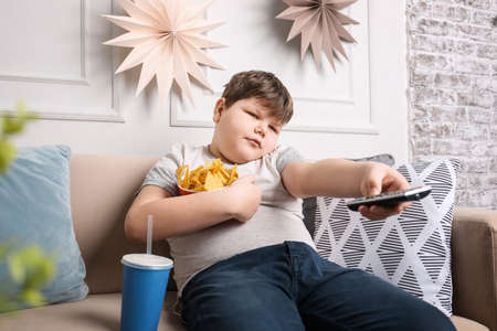 Overweight boy watching TV with snacks indoors 免版税图像 - 100409713