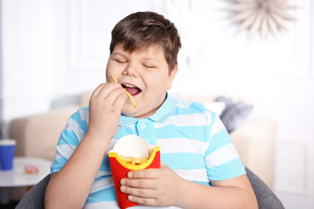 Overweight boy eating french fries indoors Standard-Bild - 100409845