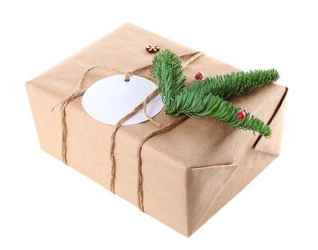 Beautiful gift box on white background Reklamní fotografie