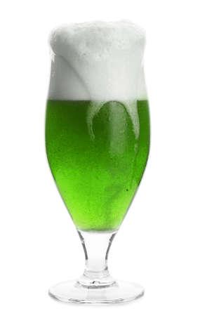 Glass of green beer on white background. Saint Patricks day celebration Stock Photo