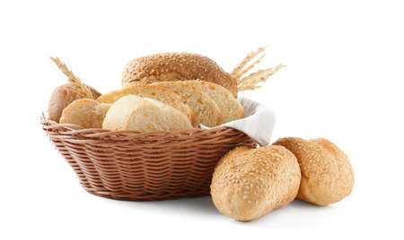 Basket with bread products on white background