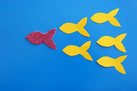 Paper fishes and one different on color background