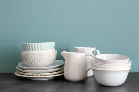 Set of dishware on table Stock Photo