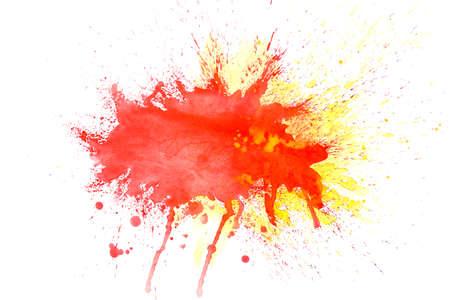 Colorful watercolor splash on white background. Holi celebration Stock Photo