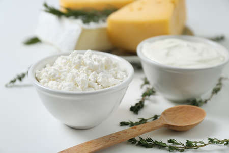 Fresh dairy products on white background