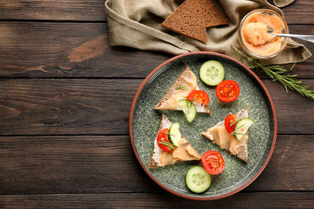 Tasty appetizer with codfish caviar on plate Banco de Imagens