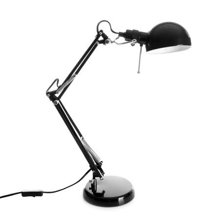 Stylish desk lamp on white background