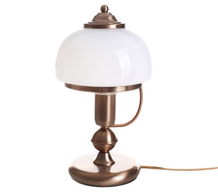 Stylish table lamp on white background