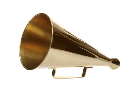 Vintage megaphone on white background Stock Photo