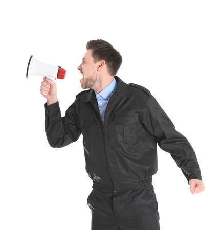 Male security guard with megaphone on white background Stock Photo