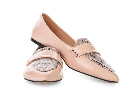 Stylish female shoes on white background