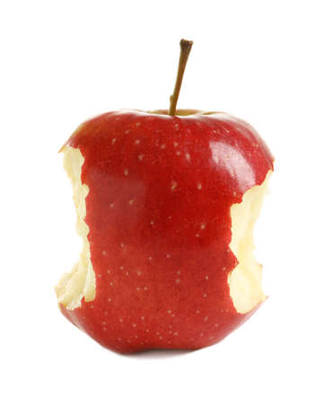 Ripe red apple with bite marks on white background