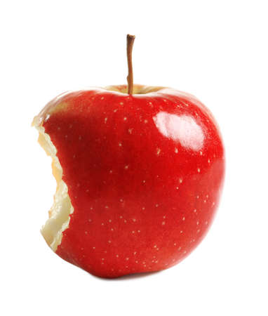 Ripe red apple with bite mark on white background
