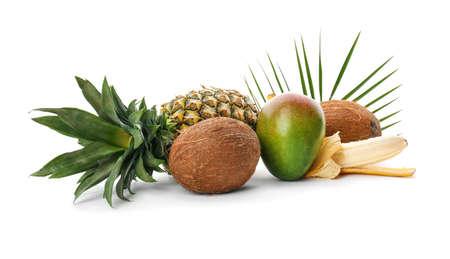 Set of fresh tropical fruits on white background