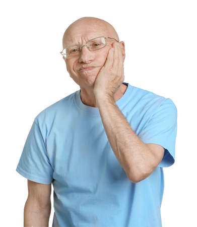 Elderly man suffering from pain on white background