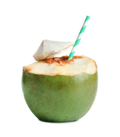 Fresh green coconut with drinking straw on white background