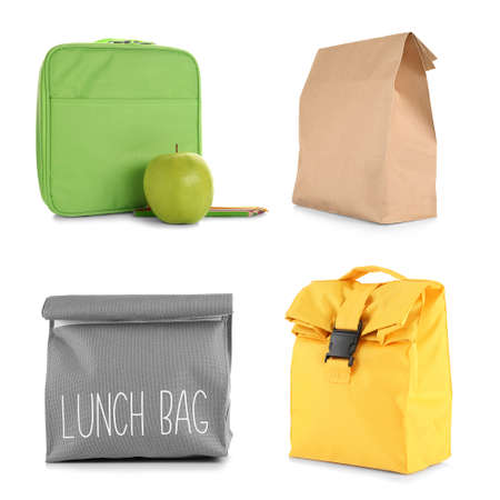 Set of bags with food for school lunch on white background Stok Fotoğraf