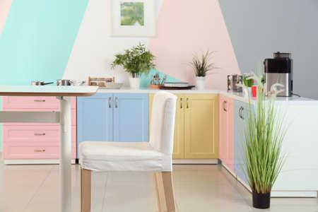 Colorful modern kitchen interior Stock Photo