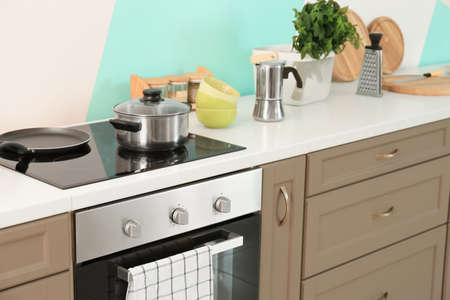 Modern kitchen furniture indoors