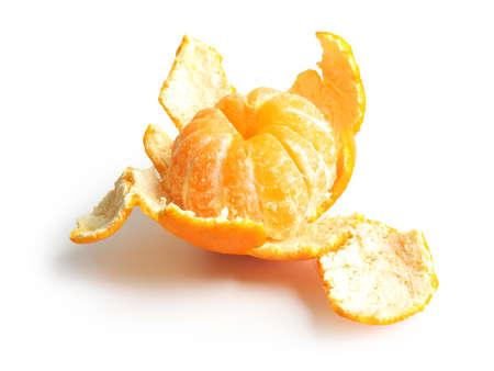 Ripe tangerine on white background 版權商用圖片