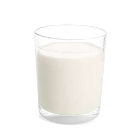 Glass of milk on white background. Fresh dairy product