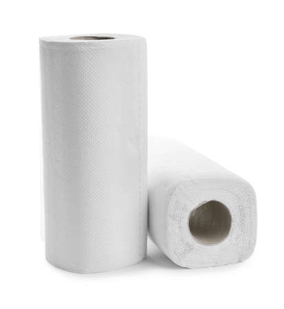 Rolls of paper towels on white background Stock Photo
