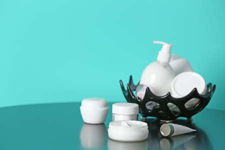 Set of body care cosmetics on table Stock Photo