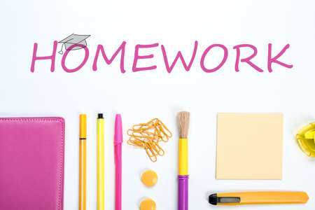 Composition with school supplies, word HOMEWORK and drawing of graduate cap on white background, top view