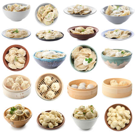 Set with different tasty dumplings on white background Stockfoto