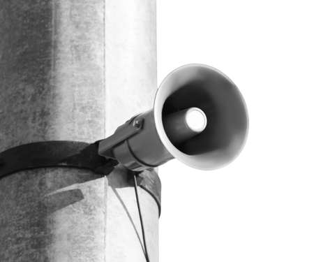Pole with megaphone on white background