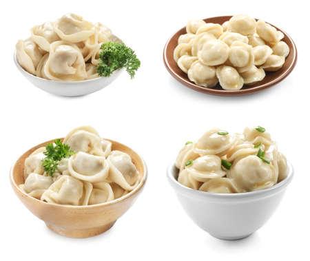 Set of cooked dumplings on white background Banco de Imagens - 105034666