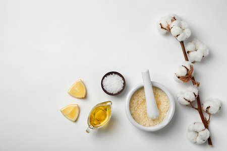 Homemade effective acne remedy and ingredients on white background Archivio Fotografico